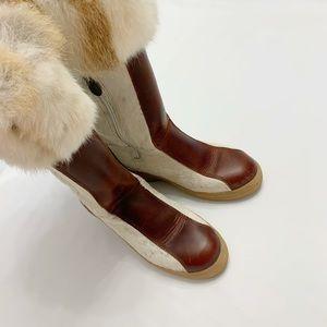 Pajar Calf Hair Leather Rabbit Fur Lace up Boot 39